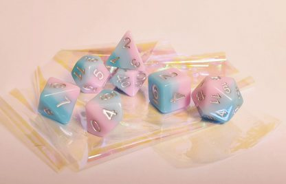 Aqua mint pink dungeons and dragons polyhedral dice set