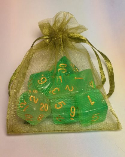 Green tone dungeons and dragons polyhedral dice set