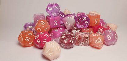 Pink palette dungeons and dragons polyhedral dice set
