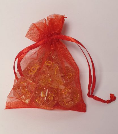 Red glitter dungeons and dragons polyhedral dice set