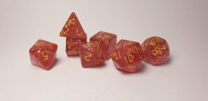 Handmade polyhedral dungeons and dragons dice set in red with glitter