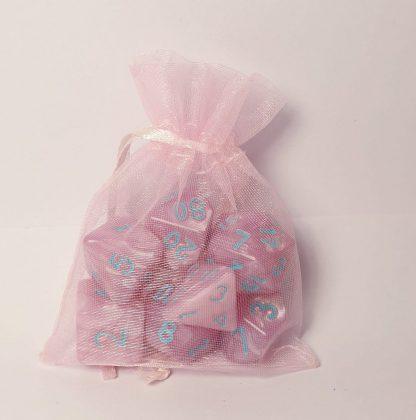 Caduceus pink aqua dungeons and dragons polyhedral dice set