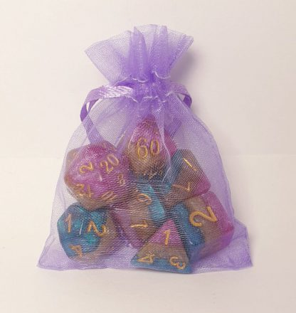 Mollymauk purple teal gold dungeons and dragons polyhedral dice set