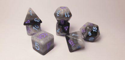 Yasha grey black dungeons and dragons polyhedral dice set