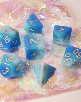 Blue rainbow dungeons and dragons polyhedral dice set