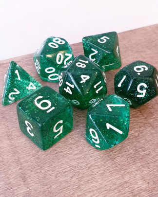 Green glitter dungeons and dragons polyhedral dice set