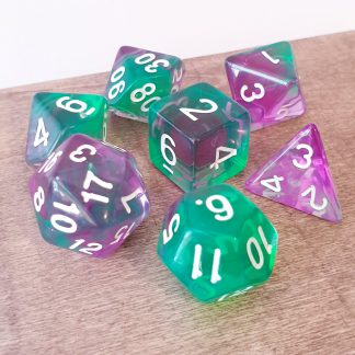 Purple and green dungeons and dragons polyhedral dice set