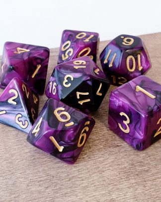 Purple and black marble effect dungeons and dragons polyhedral dice set