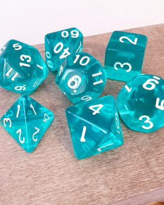 Aqua teal dungeons and dragons polyhedral dice set