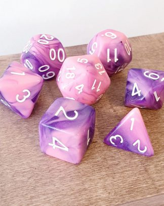 Pink and purple marble effect dungeons and dragons polyhedral dice set