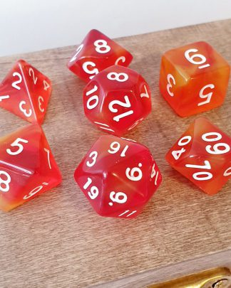 Orange and yellow dungeons and dragons polyhedral dice set