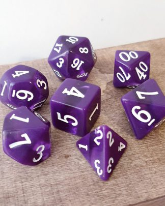 Purple stripe dungeons and dragons polyhedral dice set