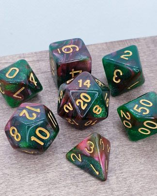 Green and red nebula galaxy effect dungeons and dragons polyhedral dice set