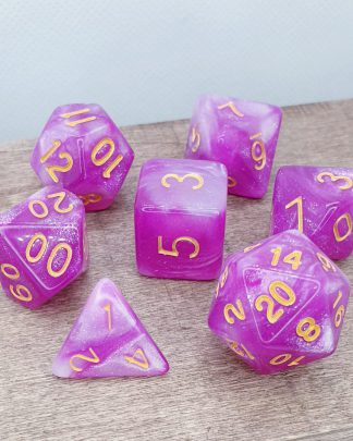 Bright pink nebula galaxy effect dungeons and dragons polyhedral dice set