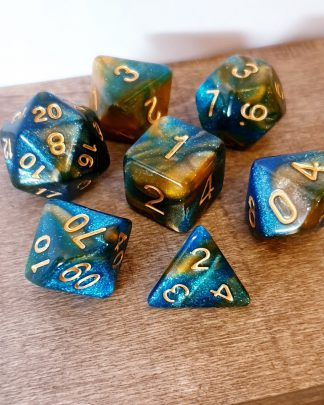 Blue and gold nebula galaxy effect dungeons and dragons polyhedral dice set