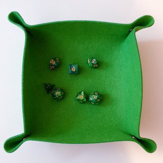 Green dice rolling tray