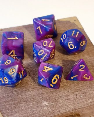 Blue and pink polyhedral dungeons and dragons dice set