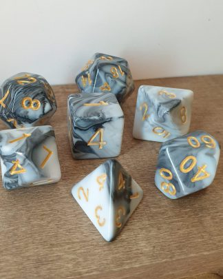 Transmute Rock black and white marble effect polyhedral dungeons and dragons dice set
