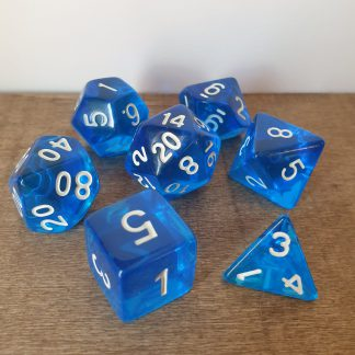 Azure blue polyhedral dungeons and dragons dice set