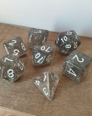 Wind Walk grey and silver glitter polyhedral dungeons and dragons dice set