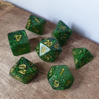 Woodland Sprite green and iridescent glitter handmade polyhedral dungeons and dragons dice set