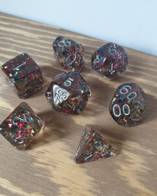 Firework grey resin with rainbow foil glitter polyhedral dungeons and dragons dice set