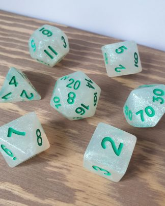 Green Opal iridescent resin with emerald numbers polyhedral dungeons and dragons dice set