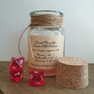 Handmade Cure minor wounds, cure moderate wounds, cure serious wounds potion, Pathfinder 2e herbalism kit healing potion dice rollers