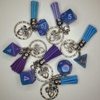 Handmade polyhedral dice on keyring
