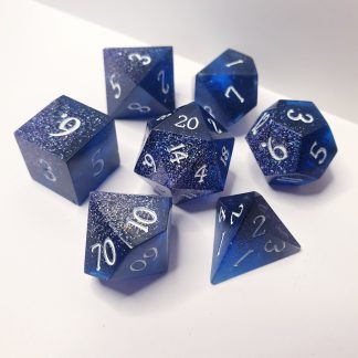 The Watch blue and holographic glitter sharp edge handmade polyhedral dungeons and dragons dice set