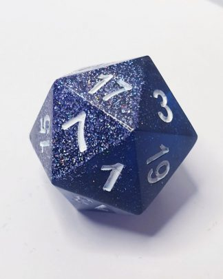 The Watch blue and holographic glitter sharp edge handmade polyhedral dungeons and dragons D20
