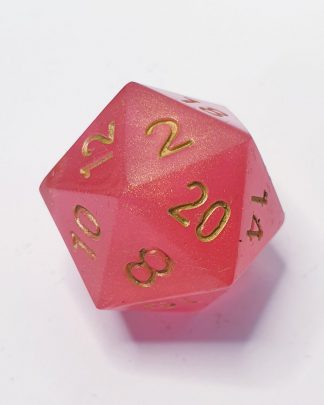 Potion of Healing red with gold pearlescent sharp edge handmade polyhedral dungeons and dragons d20